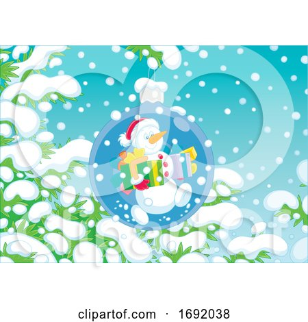 Snowman Ornament on a Snow Flocked Branch by Alex Bannykh