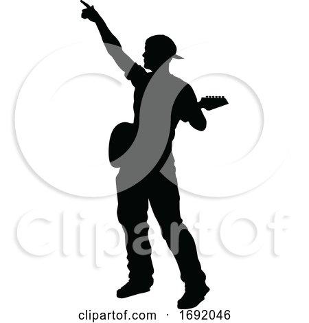 Musician Guitarist Silhouette by AtStockIllustration