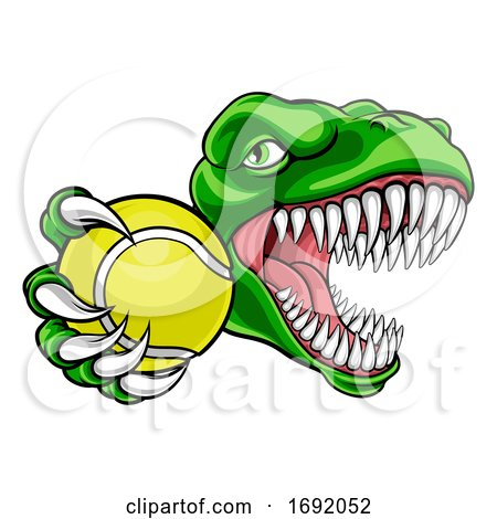 Dinosaur Tennis Player Animal Sports Mascot by AtStockIllustration