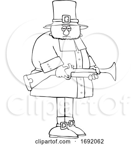 Cartoon Lineart Pilgrim Holding a Blunderbuss Rifle by djart