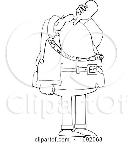 Cartoon Lineart Santa Drinking Wine from the Bottle by djart