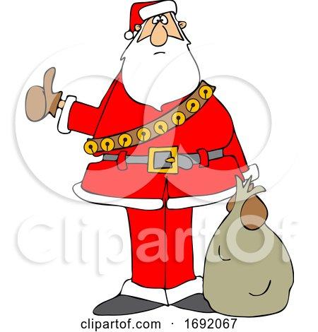 Cartoon Santa Claus Hitchhiking on Christmas by djart