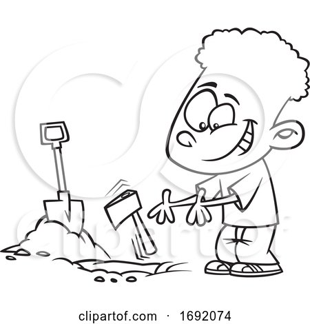 Cartoon Lineart Black Boy Burying the Hatchet by toonaday