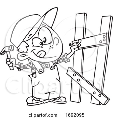 Cartoon Black and White Boy Building a Fence Posters, Art Prints