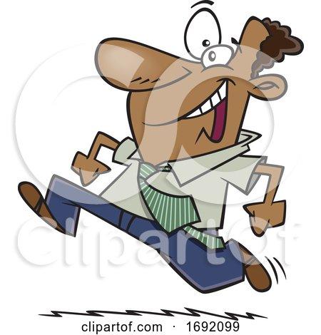Cartoon Eager Black Businessman Running by toonaday
