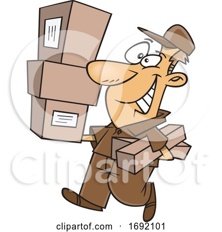 Cartoon Delivery Man Carrying Packages by toonaday