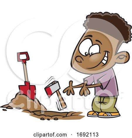 Cartoon Black Boy Burying the Hatchet by toonaday