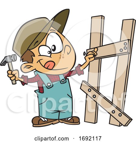 Cartoon Boy Building a Fence by toonaday