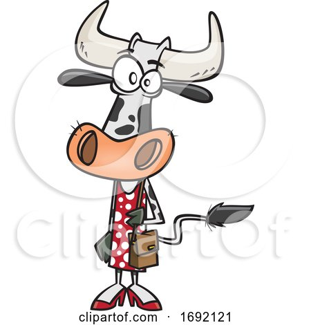 Cartoon Female Cow Shopping by toonaday