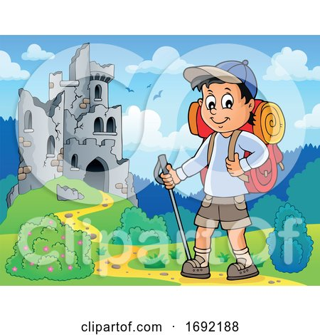 Boy Hiking on a Trail by visekart