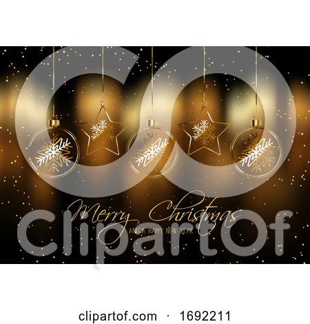 Christmas Background with Hanging Baubles by KJ Pargeter