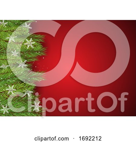 Christmas Background with Pine Tree Branches and Snowflakes by KJ Pargeter