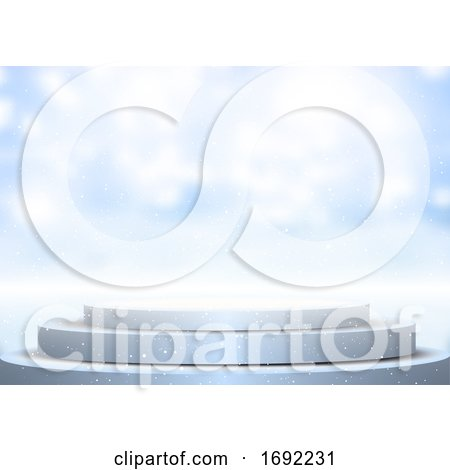 Display Podium Against Blurred Winter Background by KJ Pargeter