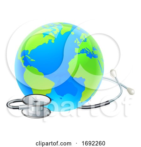 Globe World Health Day Earth Stethoscope Concept by AtStockIllustration