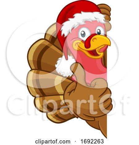 Turkey in Santa Hat Christmas Thanksgiving Cartoon by AtStockIllustration