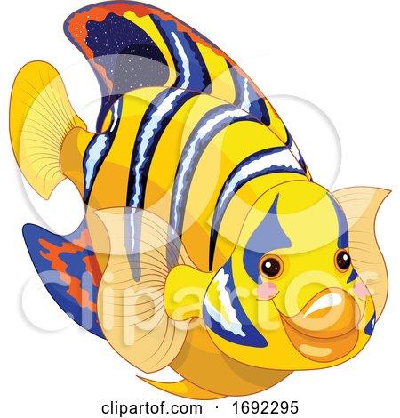 Cute Angelfish Marine Fish by Pushkin