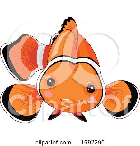 Cute Happy Clownfish by Pushkin