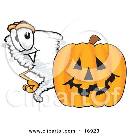 Tornado Mascot Cartoon Character Standing by a Halloween Pumpkin Posters, Art Prints