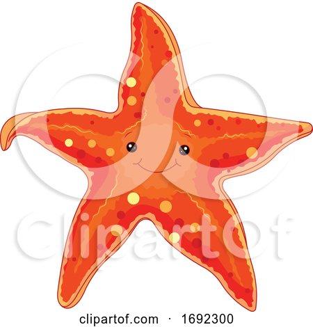 Cute Happy Orange Starfish by Pushkin