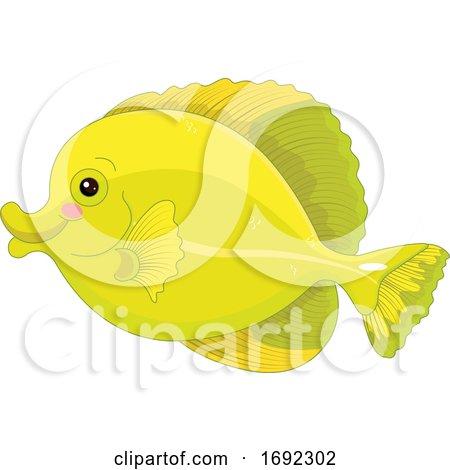 Cute Yellow Tang Marine Fish by Pushkin