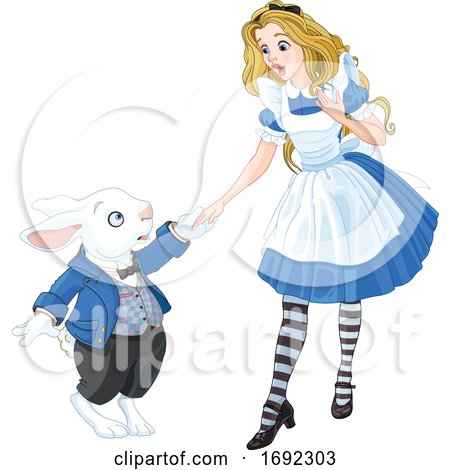 Alice in Wonderland Running with the White Rabbit by Pushkin
