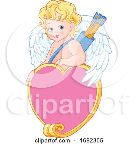 Cute Blond Baby Cupid with Arrows over a Heart Frame by Pushkin