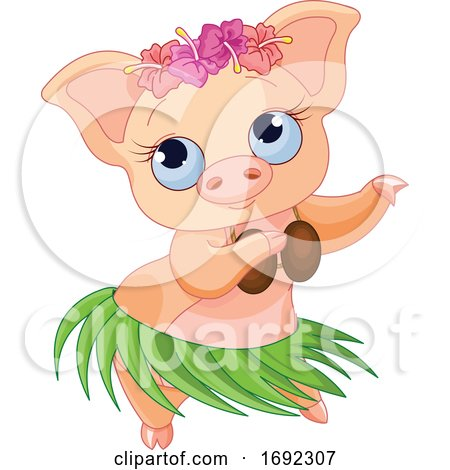 Cute Female Hula Dancer Pig by Pushkin