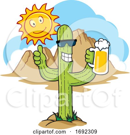 Cartoon Happy Cactus Drinking a Beer in the Desert by Any Vector