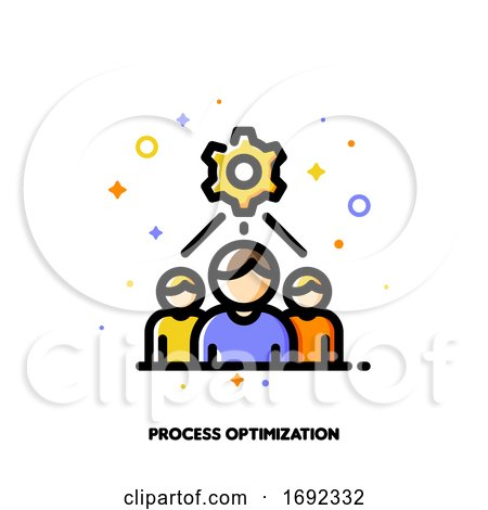 Icon with Business Team and Gear As Working Process Symbol for Project Development Optimization Concept by elena