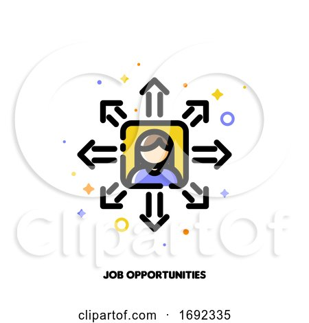 Icon of Employees Photo and Diverging Arrows for Career Opportunities Concept by elena