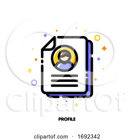 Icon of Document with Personal Info Data and Photo for Profile Card or Identity Document Concept by elena