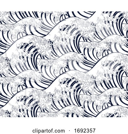 Wave Japanese Repeating Engraved Background by AtStockIllustration