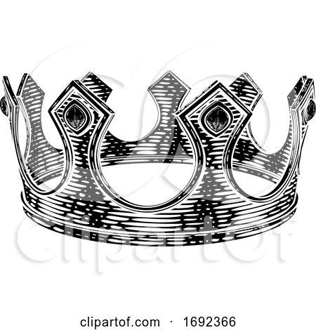 Royal King Crown Vintage Retro Style Illustration by AtStockIllustration