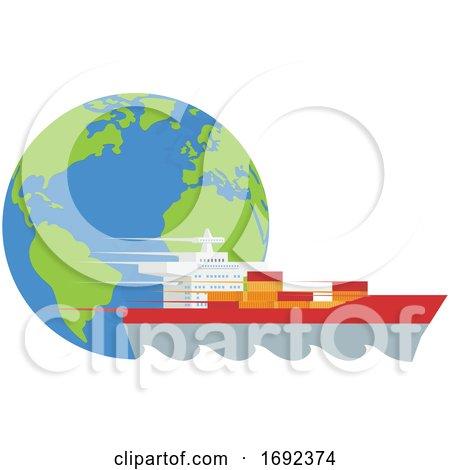 Logistics Globe Cargo Container Ship Concept by AtStockIllustration