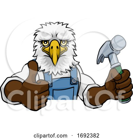 Eagle Carpenter Handyman Builder Holding Hammer Posters, Art Prints