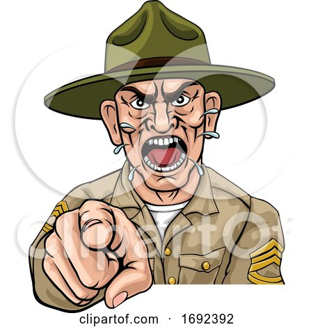 Angry Army Bootcamp Drill Sergeant Cartoon by AtStockIllustration