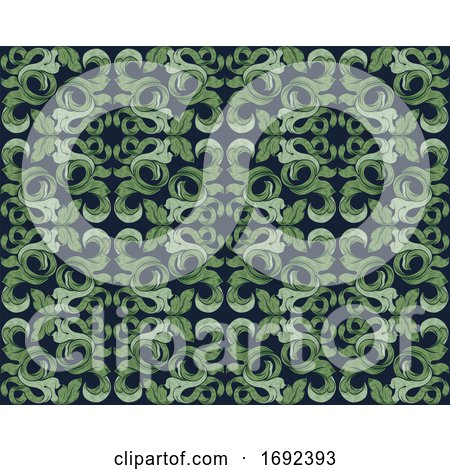 Floral Leaves Filigree Pattern Seamless Background by AtStockIllustration