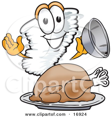 Clipart Picture of a Tornado Mascot Cartoon Character Serving a Thanksgiving Turkey on a Platter by Toons4Biz