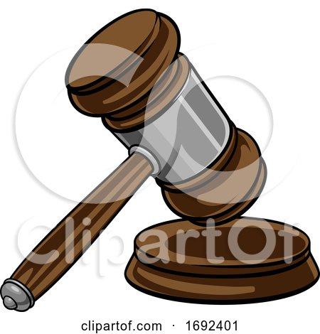 Judge Hammer Wooden Gavel and Base Cartoon by AtStockIllustration