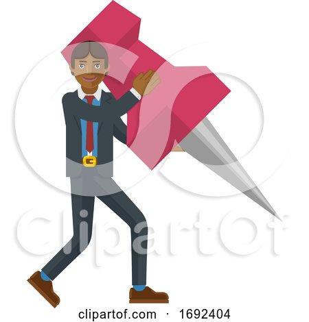 Asian Business Man Holding Thumb Tack Pin Mascot by AtStockIllustration