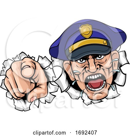 Angry Policeman Police Officer Cartoon by AtStockIllustration