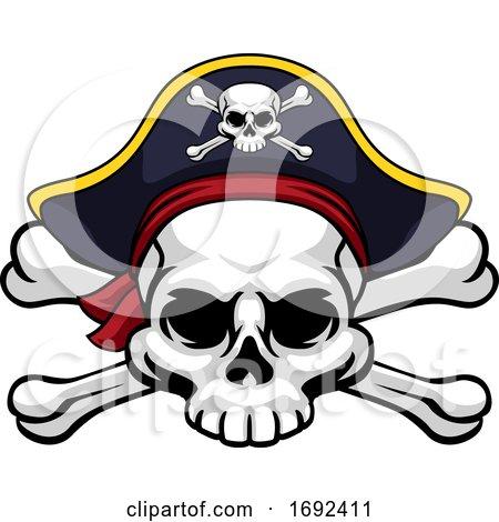 Skull and Crossbones Pirate Jolly Roger in Hat by AtStockIllustration