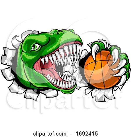 Dinosaur Basketball Player Animal Sports Mascot by AtStockIllustration