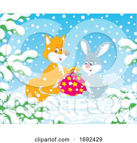 Cute Fox and Rabbit with a Gift by Alex Bannykh