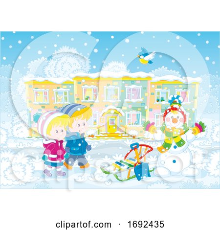 Children with a Sled and Snowman by Alex Bannykh