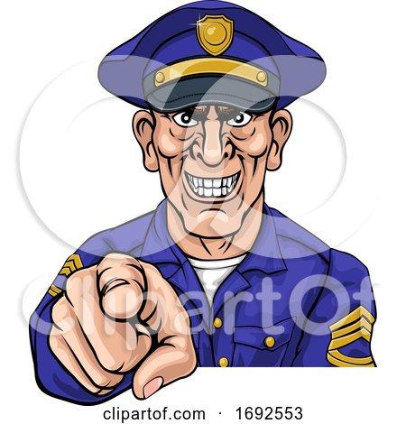 Policeman Mean Police Officer Ponting Cartoon by AtStockIllustration
