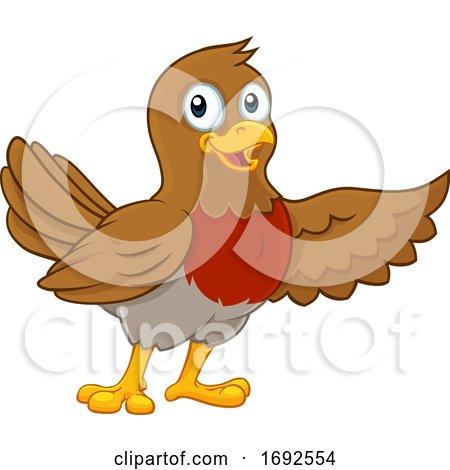 Christmas Robin Redbreast Cartoon Bird Pointing by AtStockIllustration