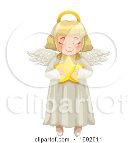 Blond Christmas Angel Holding a Star by Vector Tradition SM
