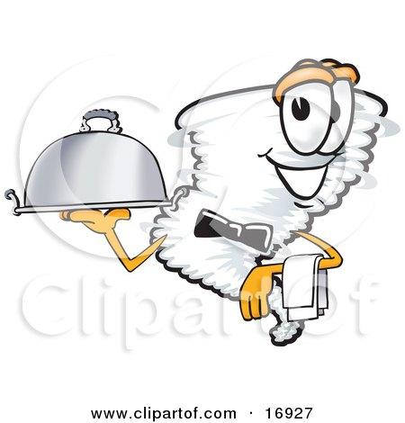 Tornado Mascot Cartoon Character Waiting Tables and Serving a Dinner Platter Posters, Art Prints