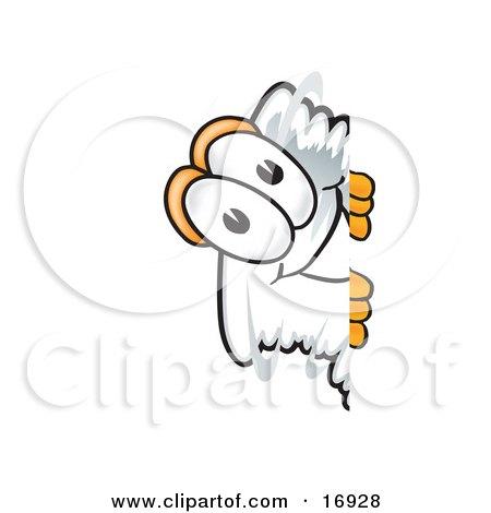 Clipart Picture of a Tornado Mascot Cartoon Character Peeking Around a Corner  by Toons4Biz